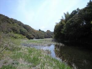 空間のそばを流れる川